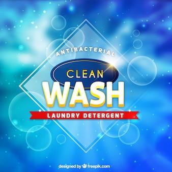 Blue blurred background of detergent
