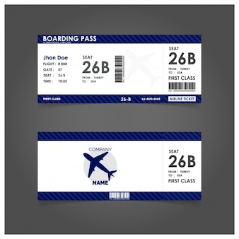 Blue boarding pass template