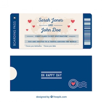 Blue boarding pass with hearts