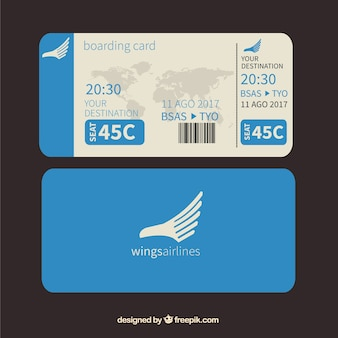 Blue boarding pass with world map