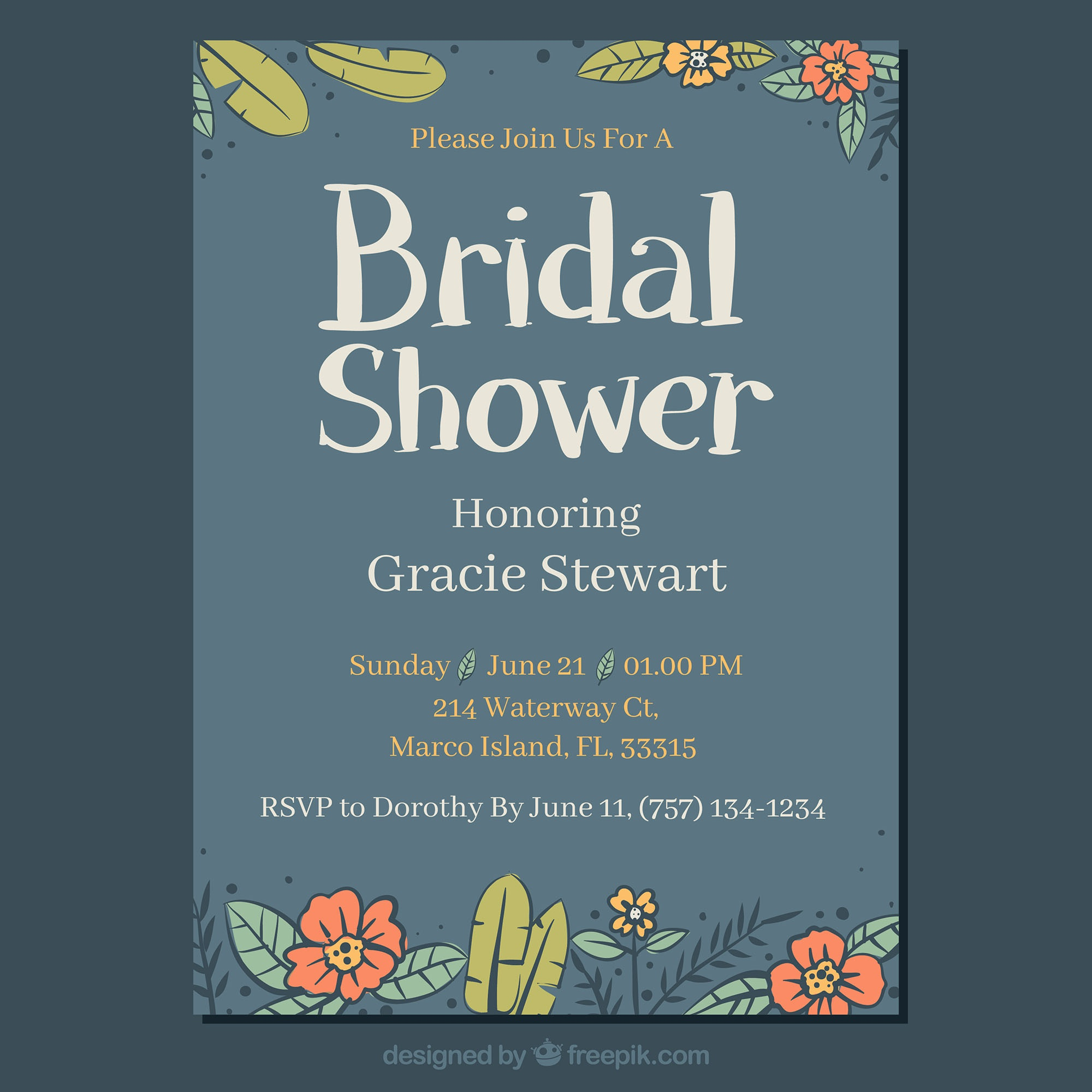 Blue bridal shower invitation with hand-drawn flowers