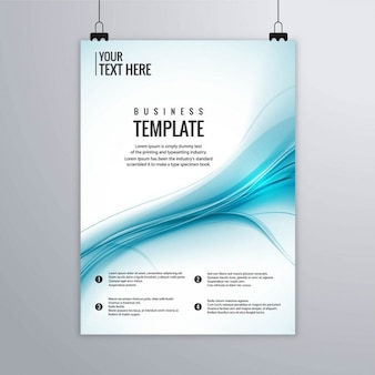 Blue brochure with abstract shapes