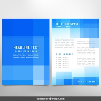 Blue brochure with squares