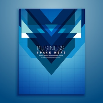 Blue brochure with triangular shapes