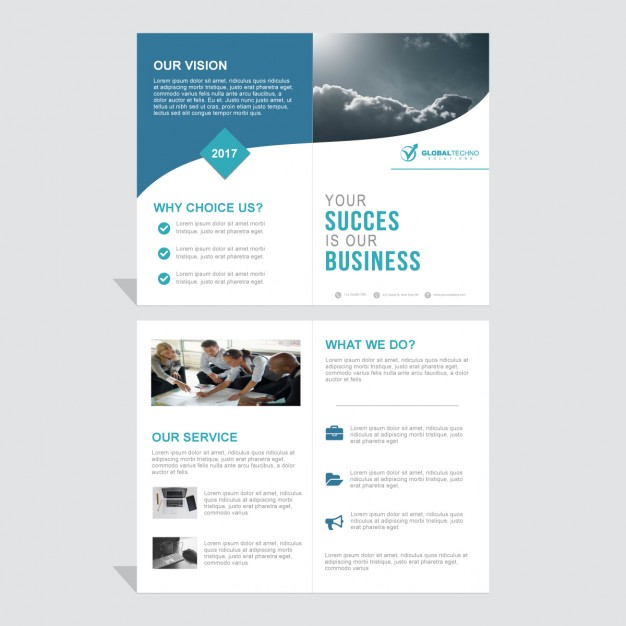 Blue brochure with wavy lines