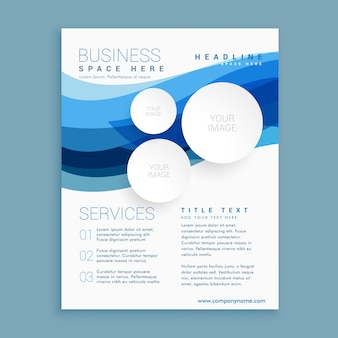 Blue brochure with wavy shapes