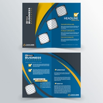 Blue brochure with yellow wavy lines