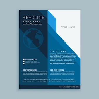 Blue business brochure with geometric elements