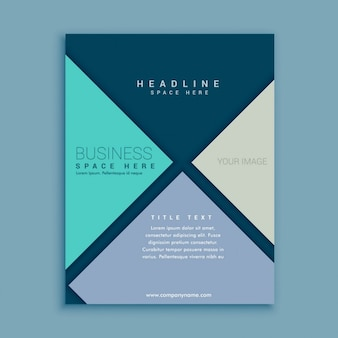 Blue business brochure with polygons