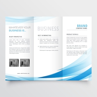 Blue business brochure with wavy shapes