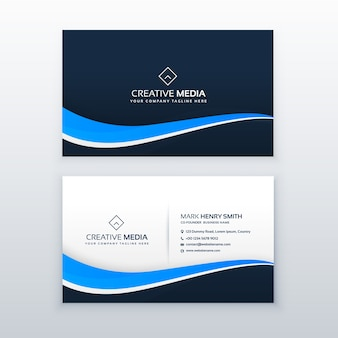Blue business card design with wavy shape