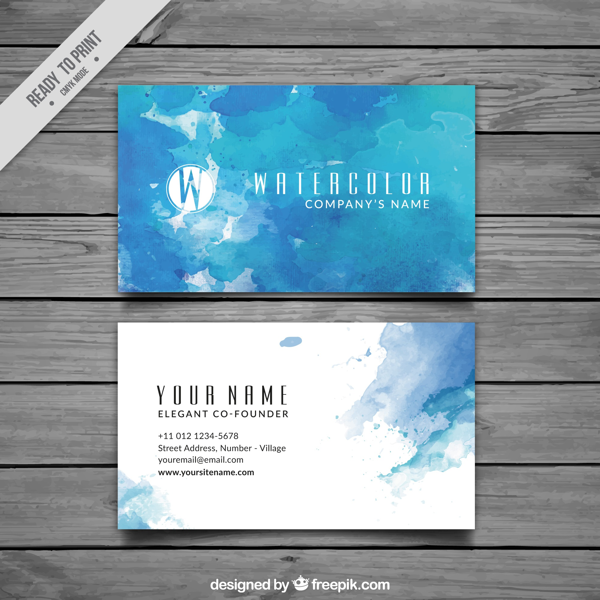 Blue business card in watercolor style