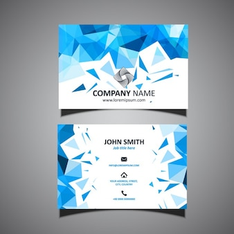 Blue business card, polygonal shapes