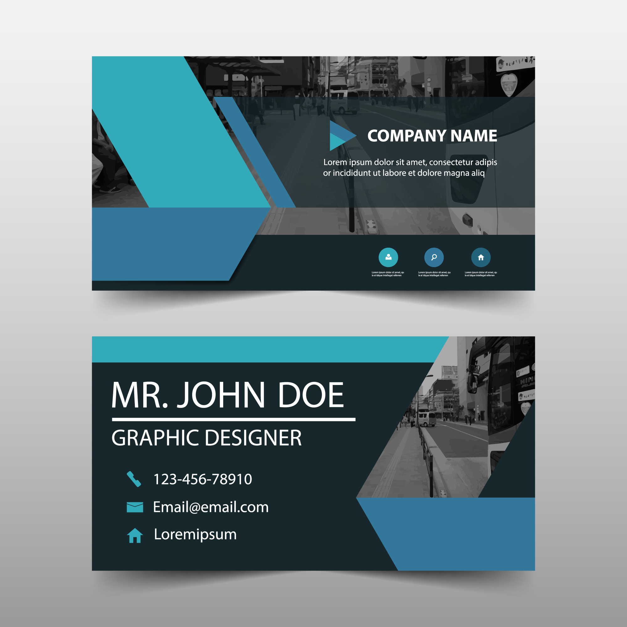 Blue business card template design