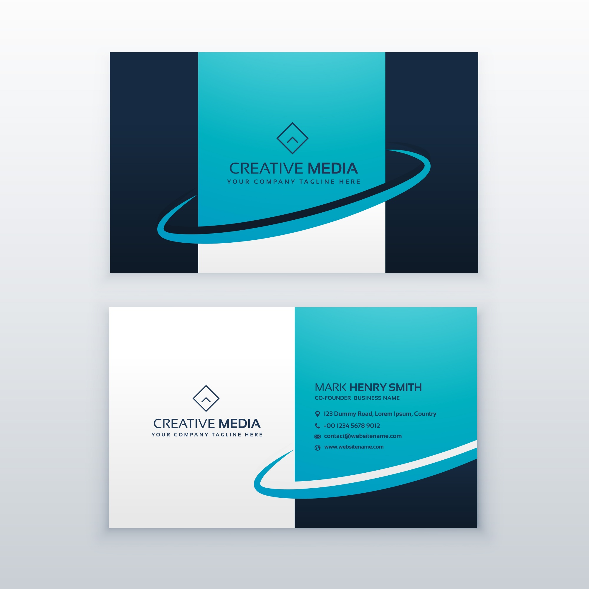 Blue business card vector design template