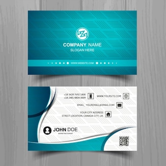 Blue business card with a geometric background