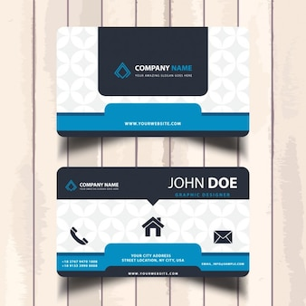 Blue business card with a pattern
