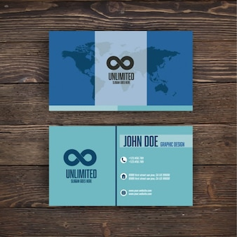 Blue business card with a world map