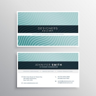 Blue business card with elegant ornaments