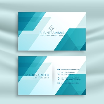 Blue business card with geometric elements