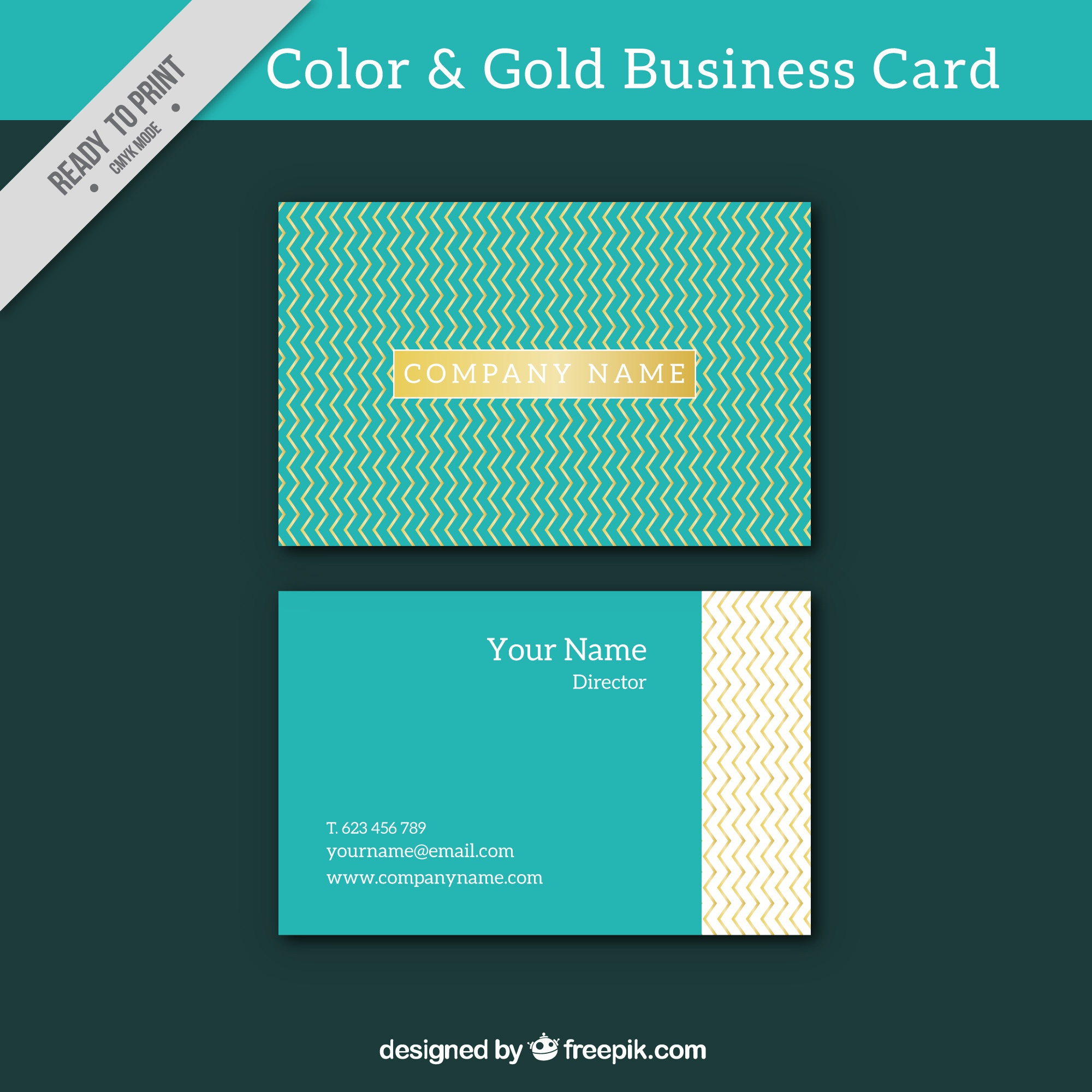 Blue business card with golden elements