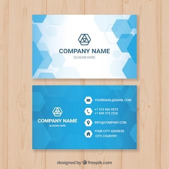 Синяя визитная карточка с шестиугольниками