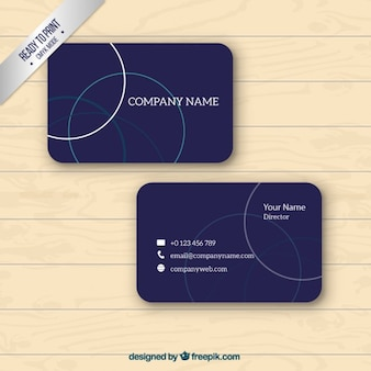 Blue business card with outlined circles