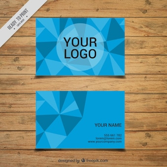 Blue business card with triangles
