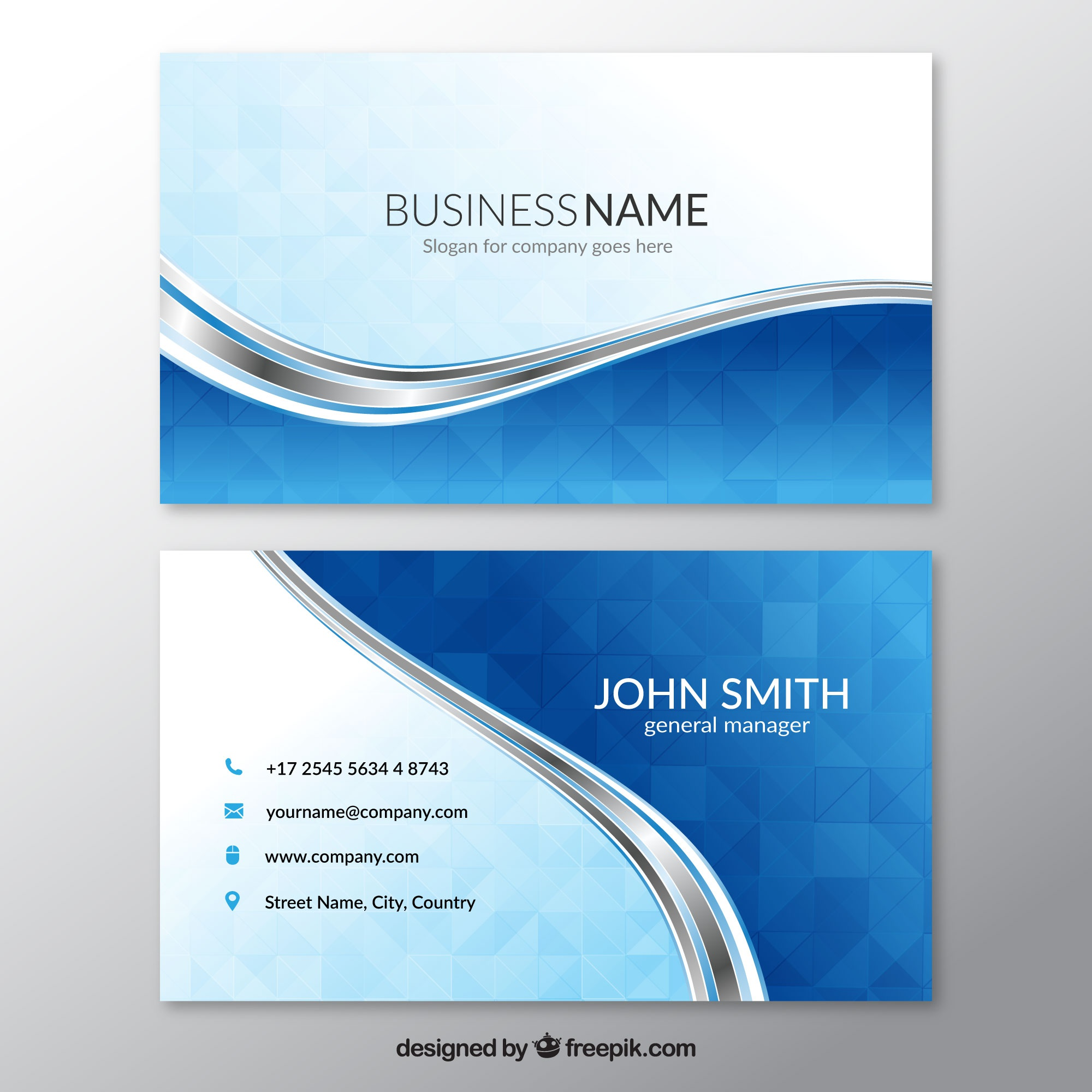 Blue business card with wavy lines