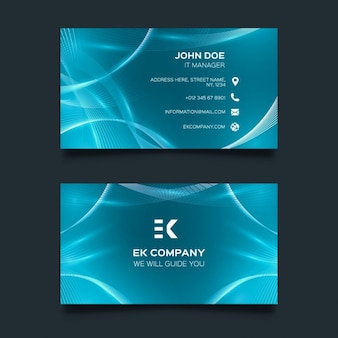 Blue business card with wavy shapes