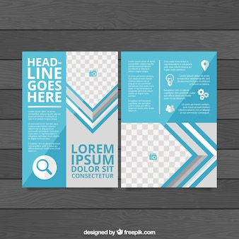 Blue business flyer with icons