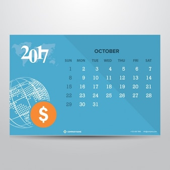 Blue calendar for october 2017