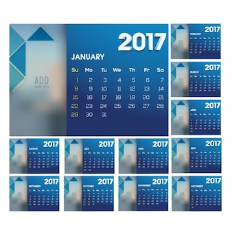 Blue calendar with geometric shapes
