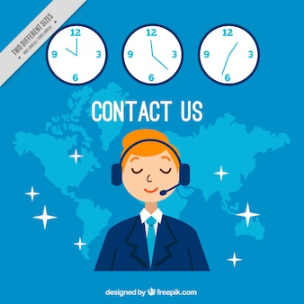 Blue callcenter background with clocks