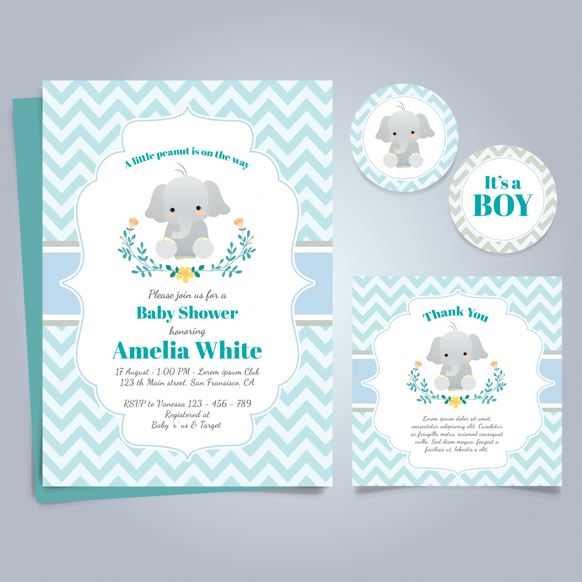 Blue card for baby shower with a cute elephant