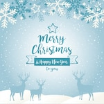 Blue christmas background with silhouettes of reindeers and snowflakes