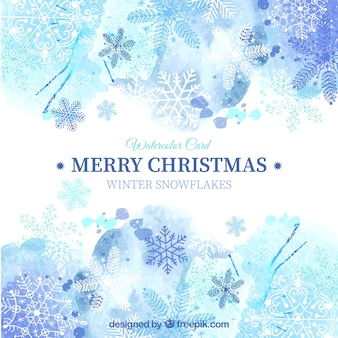 Blue christmas card in watercolor style