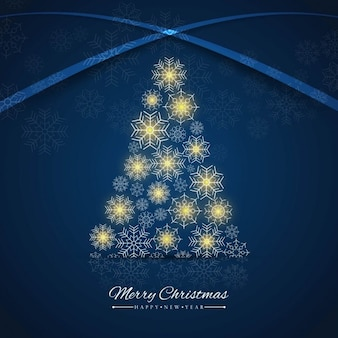 Blue christmas tree background made of snowflakes