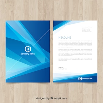Blue corporate brochure with abstract shapes