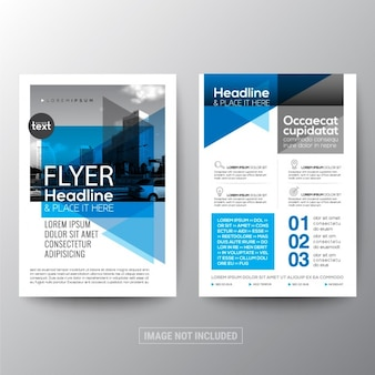 Blue corporate brochure with geometric shapes
