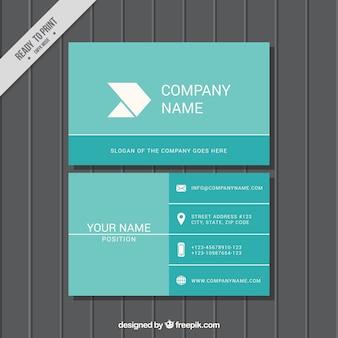Blue corporate card in flat design
