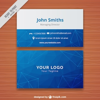 Blue corporate card with polygons