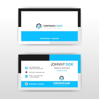 синяя креативная корпоративная карточка