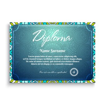 Blue creative diploma with mandala concept