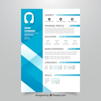 Blue curriculum template with modern style