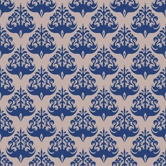 Blue damask seamless pattern