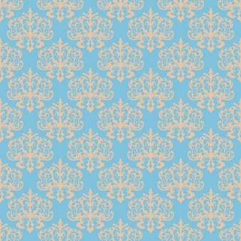 Blue damask seamless pattern