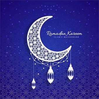 Blue decorative ramadan kareem design with moon
