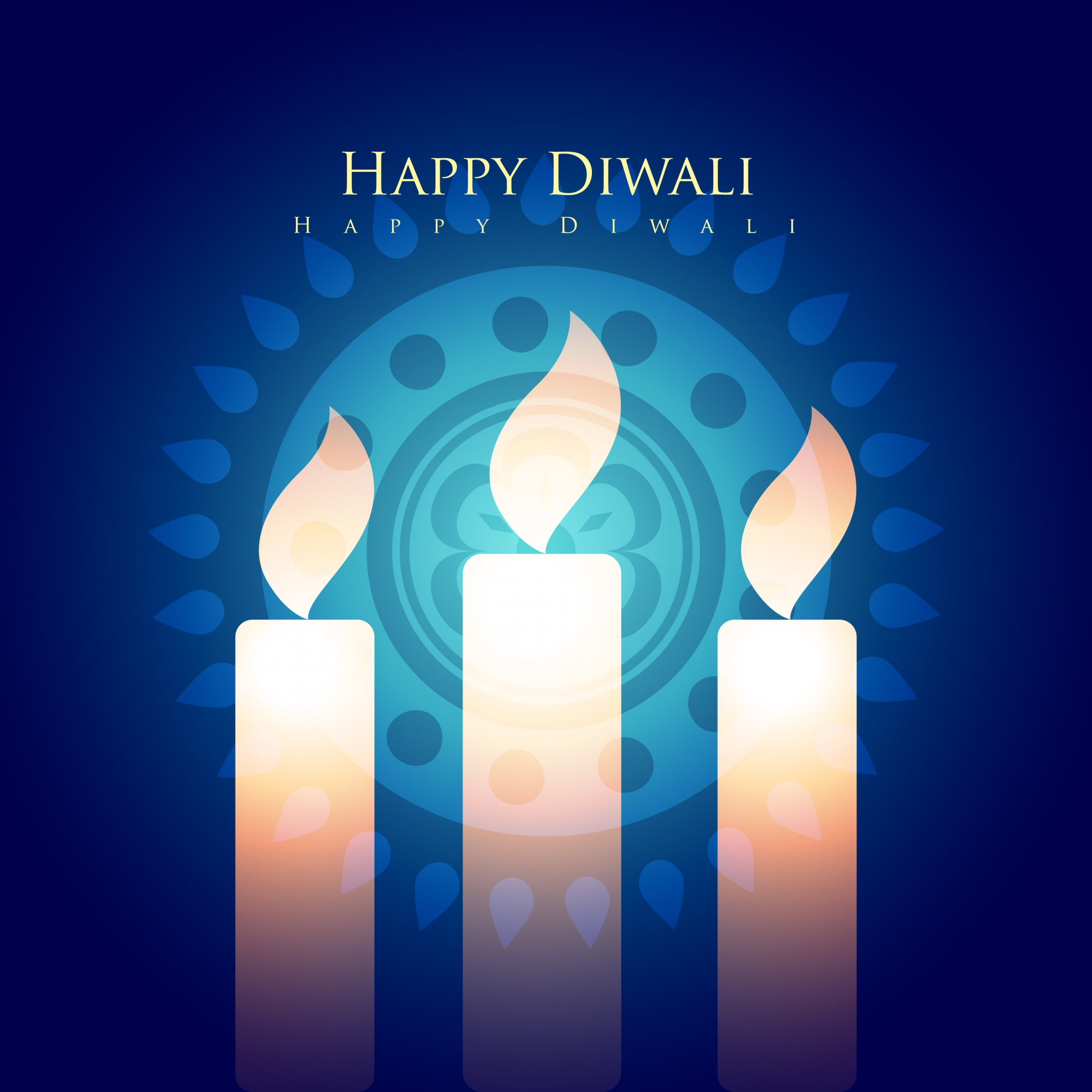 Blue design for diwali festival with candles