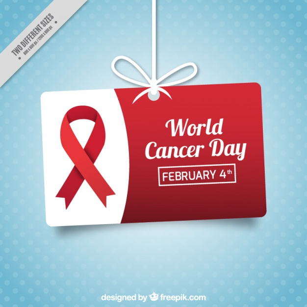 Blue dotted background with label hanging for world cancer day